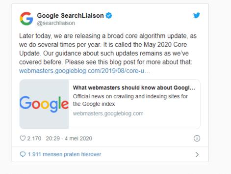 Google core update mei 2020